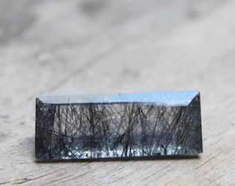 Big Size Natural Black ruitle faceted baguette cut 24x9 MM, black hair gemstone faceted stone, rutile quartz cut for jewelry:- GC25