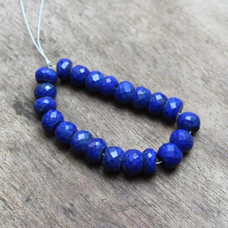 Denim blue Lapis faceted beads strand for making jewelry: GS825 Natural Lapis Lazuli 6-8 mm Faceted Rondelles Beads