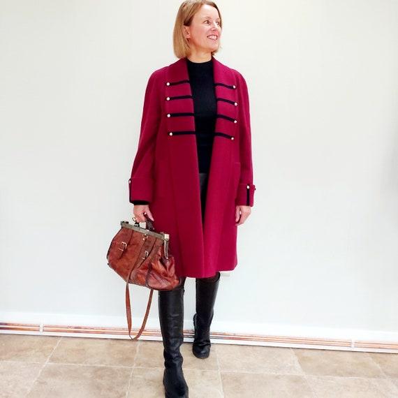 Vintage/burgundy red/woollen coat/military style/s