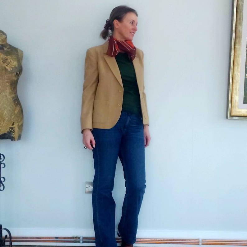 Stylish 1960s tan Jaegar jacketblazer wool and camel hair made in Great Britain size UK12