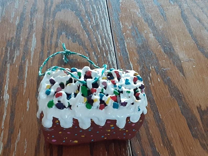 Slab O/' Fruitcake Christmas Ornament 4 x 3 x 2 inch fruitcake Handmade in Ohio funny holiday gift XXL version