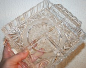 Art Glass, Vintage 70s, Brilliant hand cut Crystal appetizer plate