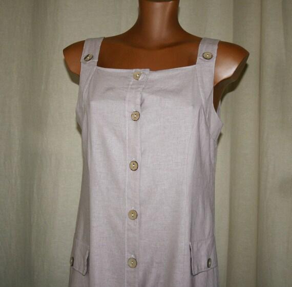 VINTAGE 90s sand linen dress / Vintage Tunic/boho