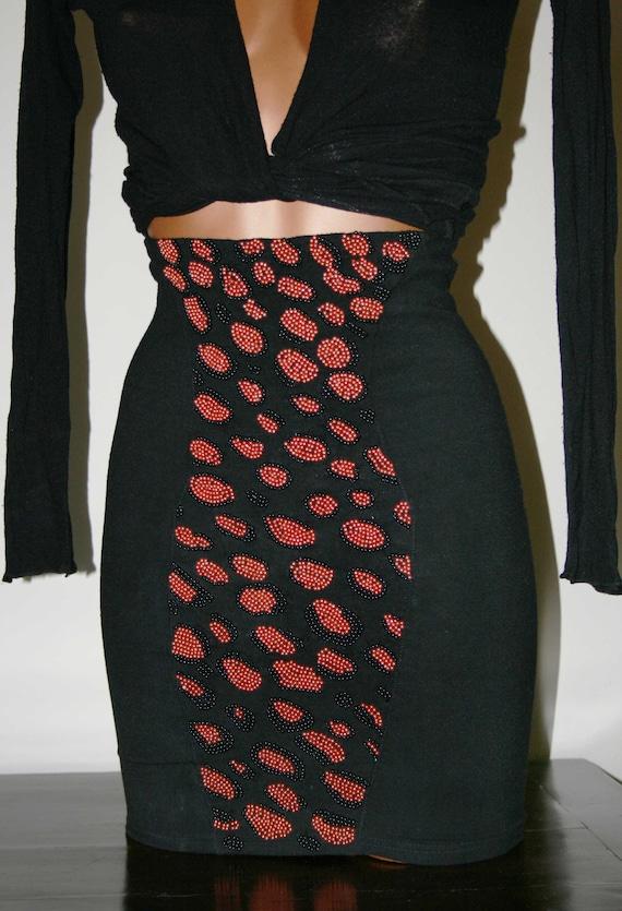 Vintage 85s black elastic fitted  SKIRT/ Luxury co
