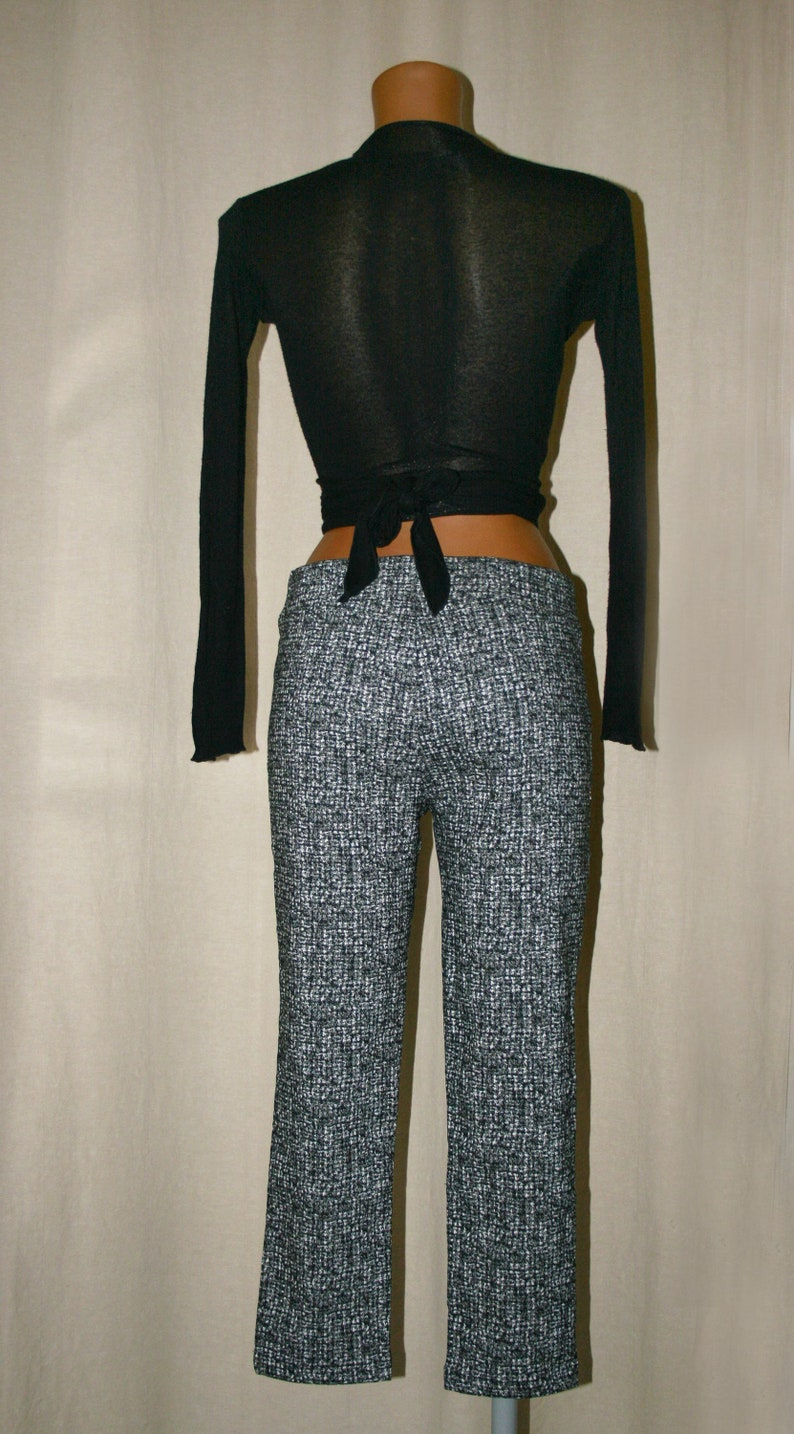 Casual Pants-Made in Italy Comfortable Stretch Pants Gift for her-Womens pants Vintage black Low waist  Pants