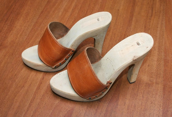 RARE !!! 70s ITALIAN wooden platforms CLOG, high h