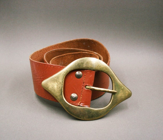 Vintage 80s BELT LEATHER WOMAN/Brown leather/Speci