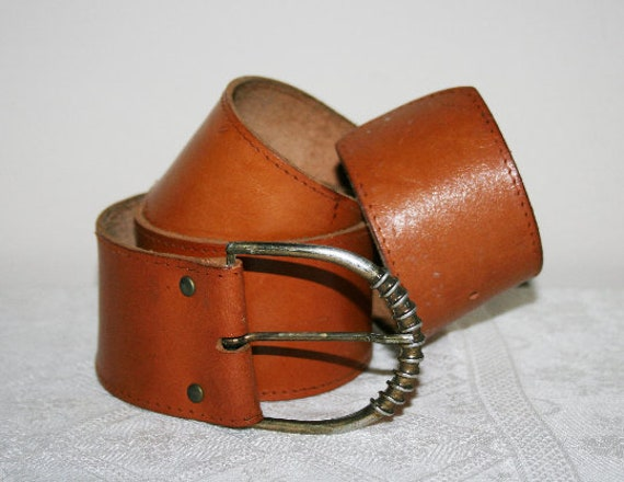 Vintage 80s BELT LEATHER WOMANBrown leatherSpecial buckleWide beltThe hip beltRare beltBrass beltBoho beltGift for her