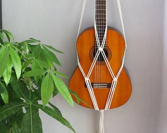 Macrame Acoustic Guitar Stand, Wall Decor, Wall Mount, 100% cotton Wall Hanger, Boho Instrument Hanger, Guitar Strap, Boho Guitar Gift