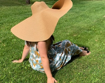 Summer Sale! Giant Floppy Sunhat. Giant Straw Hat 80cm/32 inches across. Wide Brimmed Straw Hat. Women Beach Hats. Oversized straw hat