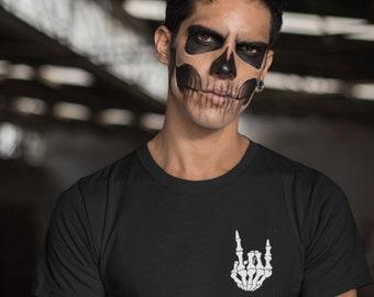 XtraFly Apparel Women/'s Halloween Skeleton Devil Horn Rock Party Fall Trick or Treat Gift Racerback T-shirt Black