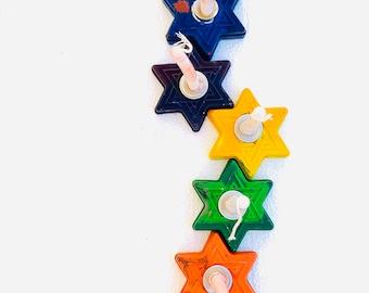 Chanukah/Hanukkah Crayon Menorah/Chanukiah - Star of David menorah