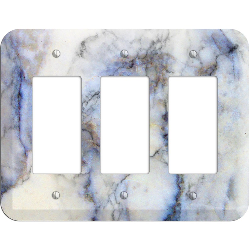 Duplex Spindle Marble Print- Marble Light Switch Cover and Outlet Covers; Metal Wallplates Home D\u00e9cor Toggle Rocker Switchplates