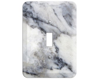 Gray, Black & White Marble Print - Light Switch Cover and Outlet Covers;Metal Wallplates, Home Décor, Toggle, Duplex, Rocker Switchplates
