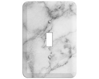 Alto Marble Print - Marble Light Switch Cover and Outlet Covers;Metal Wallplates, Home Décor, Toggle, Duplex, Rocker Switchplates