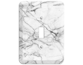 White and Gray Marble Print - Marble Light Switch Cover and Outlet Covers;Metal Wallplates, Home Décor, Toggle, Duplex, Rocker Switchplates