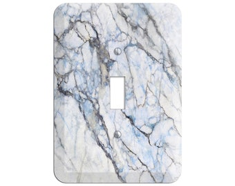 Blue and Gray Marble Print - Marble Light Switch Cover and Outlet Covers;Metal Wallplates, Home Décor, Toggle, Duplex, Rocker Switchplates