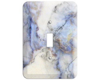 Spindle Marble Print- Marble Light Switch Cover and Outlet Covers; Metal Wallplates, Home Décor, Toggle, Duplex, Rocker Switchplates