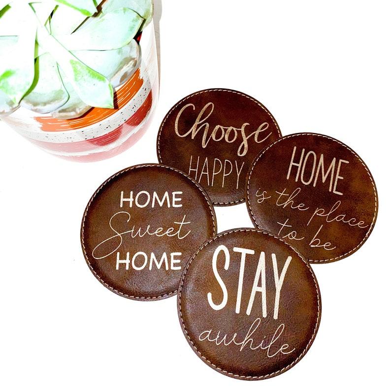 Leatherette engraved coasters  engraved coasters  custom coasters  home decor