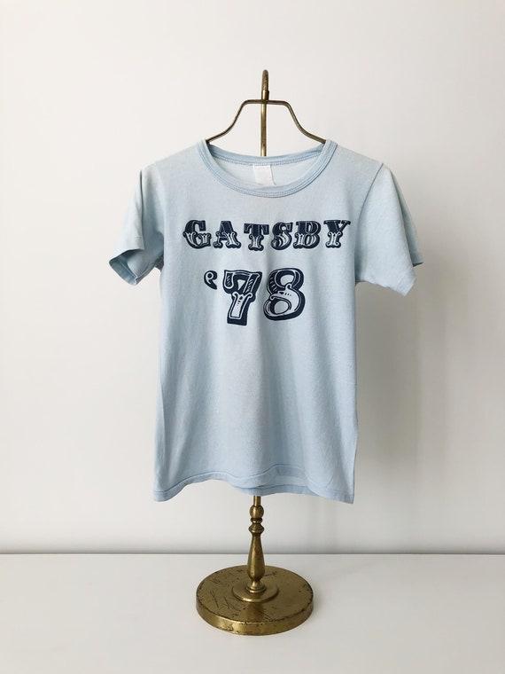 GATSBY Vintage 1970s 1978 Baby Blue T Shirt