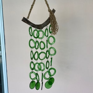 Graduated glass rings wind chimewindchime recycled bottle rings driftwood artform