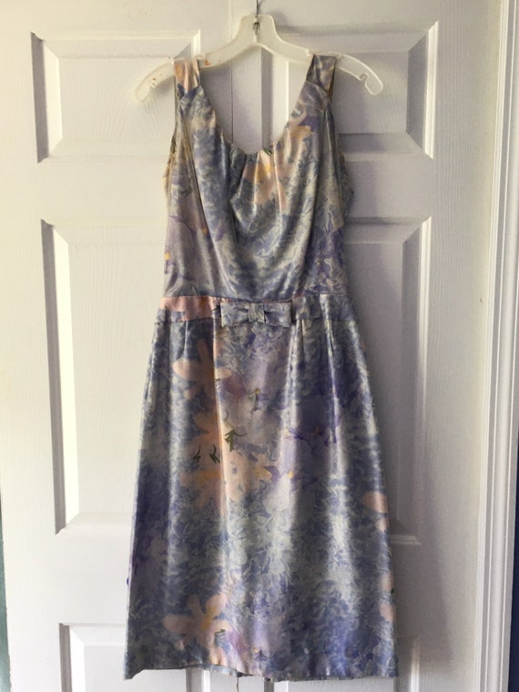 Floral Silk Dress Adorned With Floral Sheer Organz