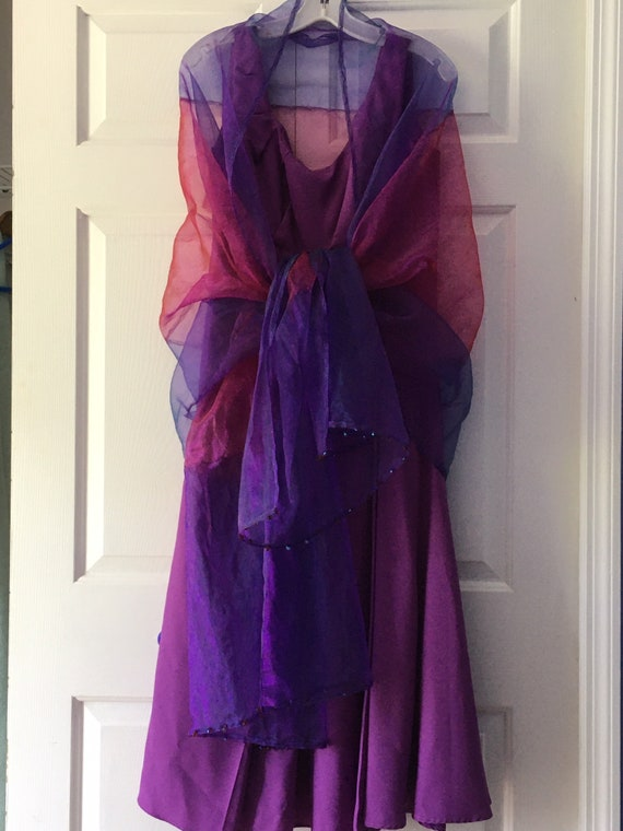 Handmade Purple Dress With Vintage Design And Shee