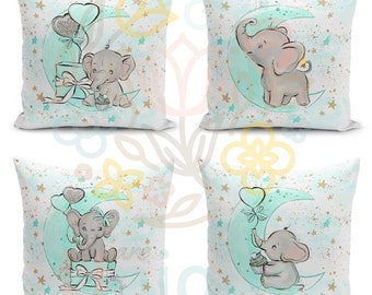 watercolour print Elephant and Calf Fabric Quilting SewingCraft Panel