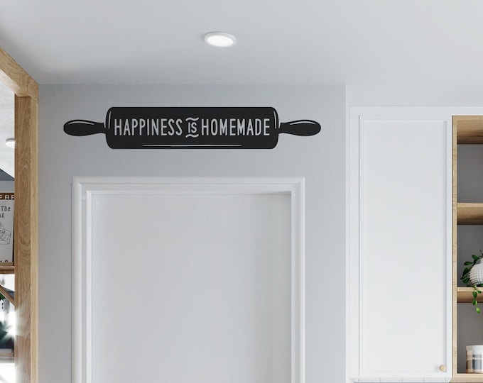 Rolling Pin - Happiness is Homemade -  Vinyl Wall Decal - Multiple Sizes and Colors -  Optional Free Customization