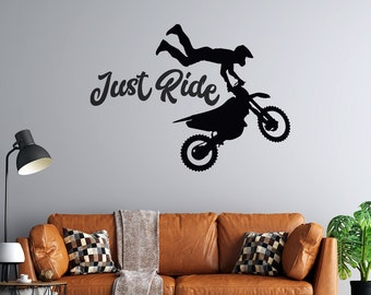 Motocross - Just Ride  - Vinyl Wall Decal - Free Customization - MX - Motorcycle