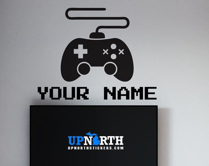 Video Game Controller with Name - Personalized Vinyl Wall or Vehicle Decal - Free Shipping