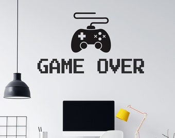 Game Controller - Game Over - Custom Vinyl Wall Decal - Made to Order - Free Shipping