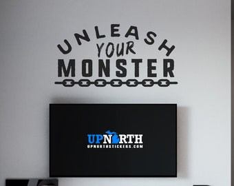 Unleash Your Monster - Chains - Vinyl Wall or Vehicle Decal - Multiple Sizes and Colors - Personalize for Free - Free Shipping