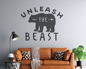 Unleash the Beast - Bear - Vinyl Wall or Vehicle Decal - Multiple Sizes and Colors - Personalize for Free - Free Shipping