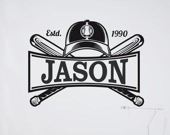 Baseball Bat and Hat with Name - Personalized Baseball Vinyl Wall Decal - Free Shipping