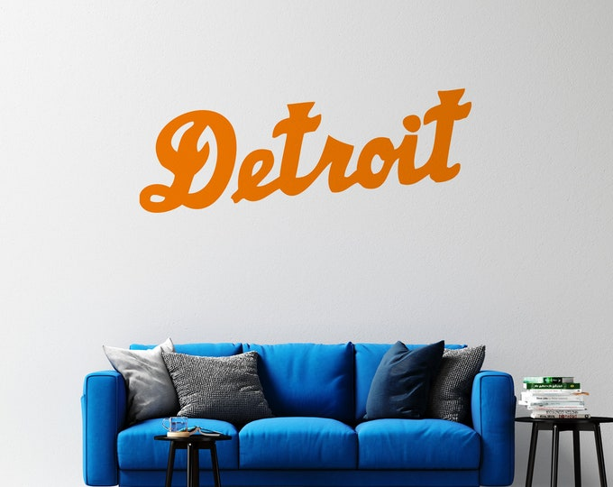 Detroit - Cursive Text - Vinyl Wall or Vehicle Decal - Multiple Sizes and Colors - Personalize for Free - Detroit MIchigan