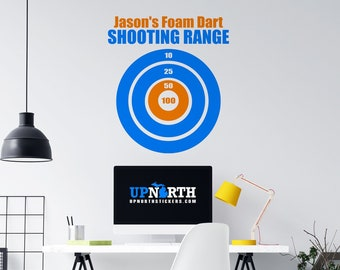 """Foam Dart Target - """"Nerf Style"""" Wall  Target - Custom Vinyl Wall Decal - Multiple Sizes and Colors - Personalize for Free - Free Shipping"""