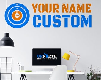 Foam Dart Target with Name - Personalized Vinyl Wall Decal - Made to Order - Free Shipping