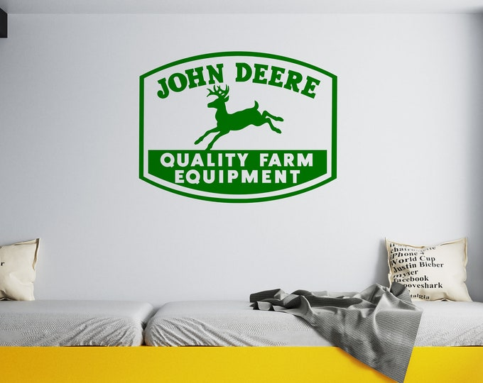 John Deere Sign -  Vinyl Wall Decal - Multiple Sizes and Colors - Free Customization