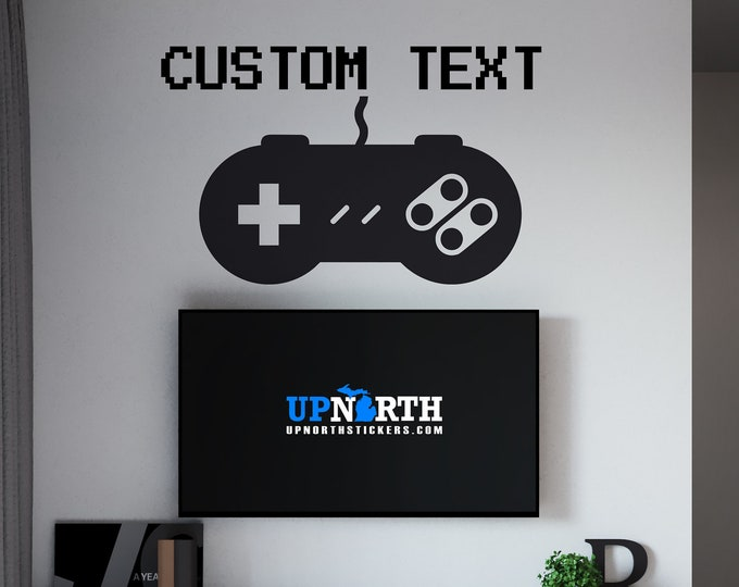 SNES Controller with Name - Personalized Vinyl Wall or Vehicle Decal - Free Shipping