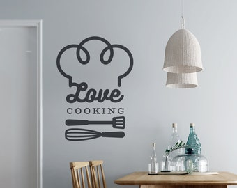 Love Cooking - Chef hat - Kitchen Vinyl Wall Decal - Multiple Sizes and Colors - Personalize for Free - Free Shipping