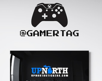 Video Game Controller with Name - X Box Style - Personalized Vinyl Wall or Vehicle Decal - Free Shipping