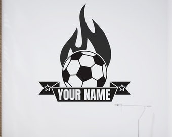 Soccer Ball on Fire - Personalized Soccer Vinyl Wall Decal -  Free Shipping