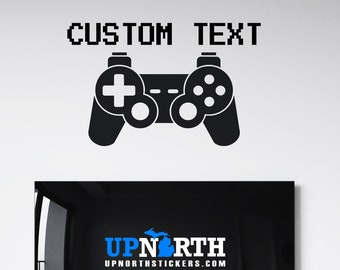 Video Game Controller with Name - PS4 Style - Personalized Vinyl Wall or Vehicle Decal - Free Shipping