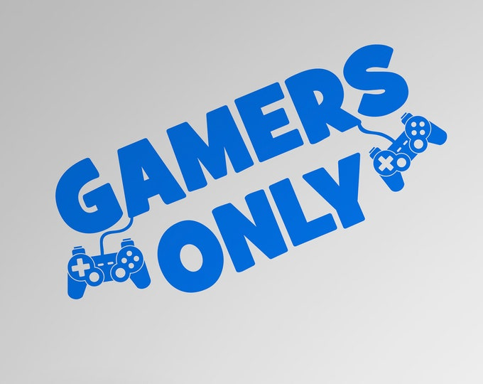 Gamers Only with Controllers - Custom Vinyl Wall or Vehicle Decal - Made to Order - Free Shipping