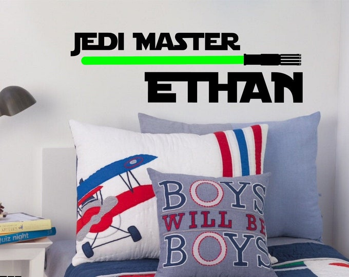 Jedi Master with Light Saber - Personalized Wall or Vehicle Vinyl Decal - Free Shipping