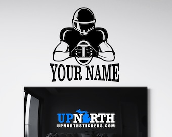 Football Player - Personalized Football Vinyl Wall Decal - Free Shipping