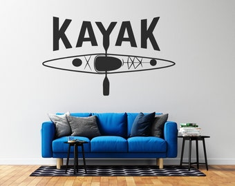 Kayak Wall Decal  - Vinyl Wall Decal - Multiple Sizes and Colors - Free Customization
