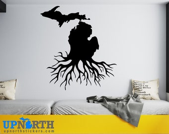 Michigan Roots  - Custom Vinyl Wall or Vehicle Decal - Multiple Sizes and Colors - Free Shipping