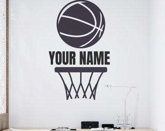 Basketball Net and Ball - Personalized Basketball Vinyl Wall Decal - Multiple Sizes and Colors - Personalize for Free - Custom Wall Decal